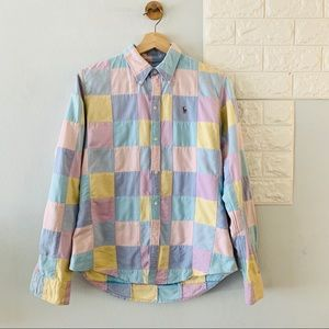 90s Ralph Lauren pastel patchwork shirt